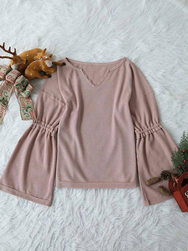 V-neck Bell Sleeves Blouse
