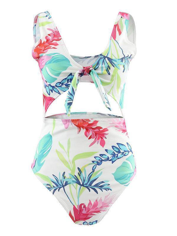 Printed Hollow Tie One Piece Swimsuit