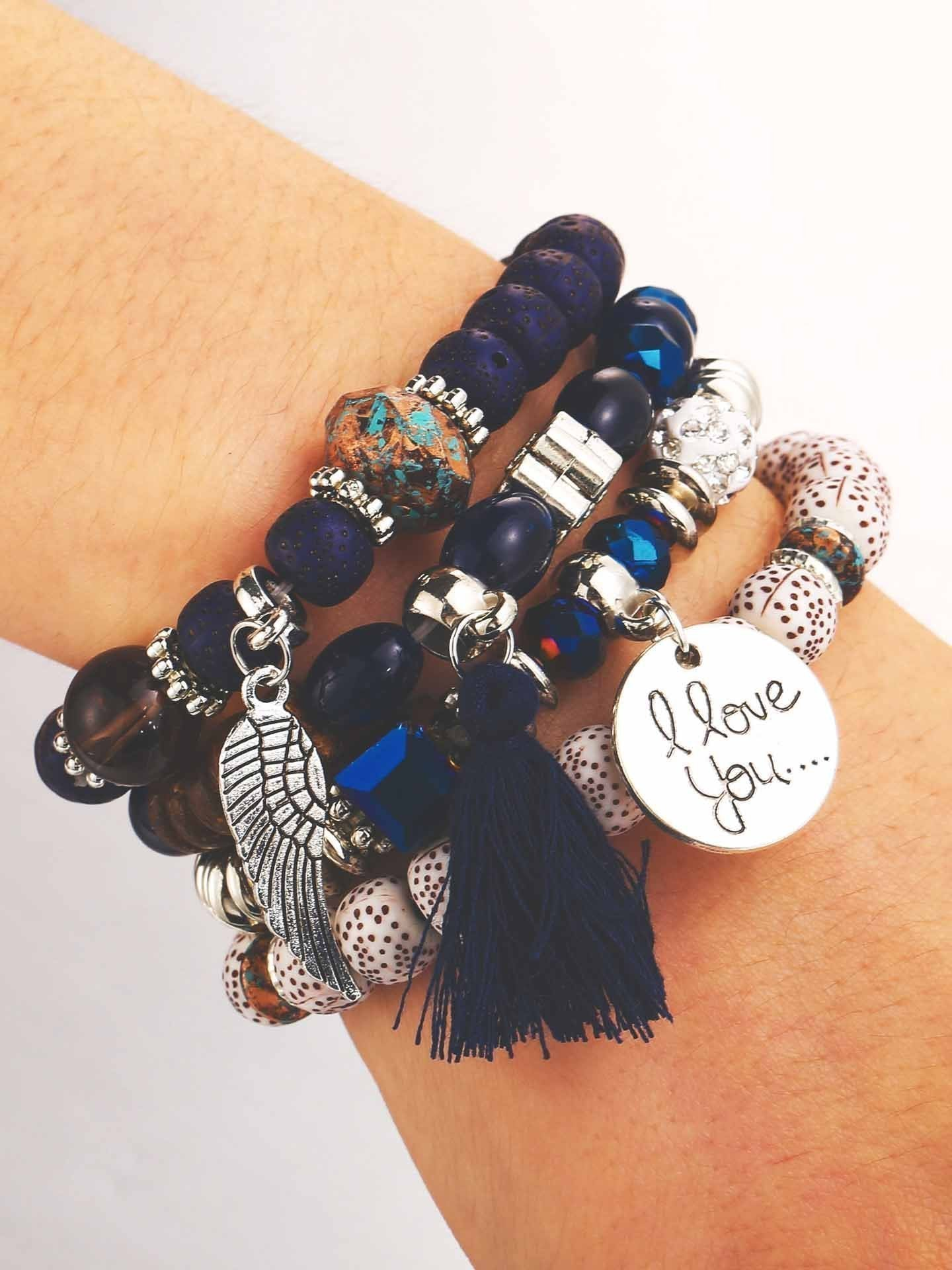 Vintage I Love You Tassel Beaded Bracelet