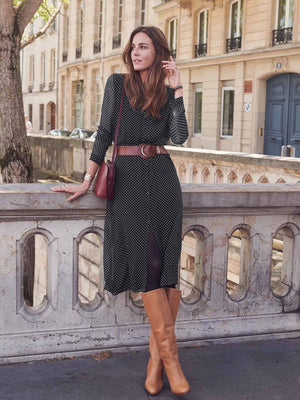 Chiffon Wave Point Long Sleeve Maxi Dress