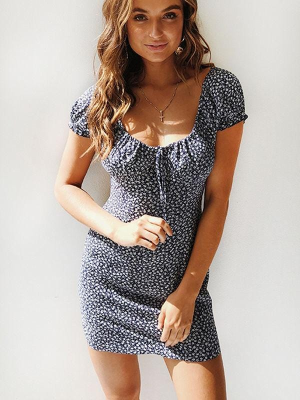 Polka Dot Collar Floral Mini Dress