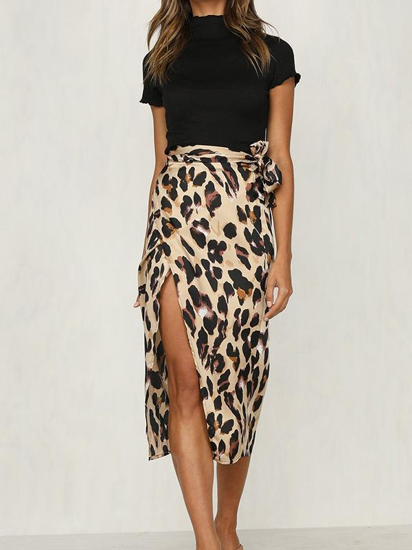 Leopard Print High Cut Skirt