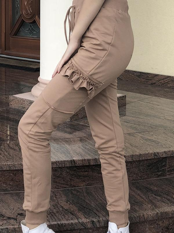 Solid Color Wooden Ear Side Trousers
