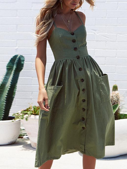Solid Color Button Sleeveless Long Dress