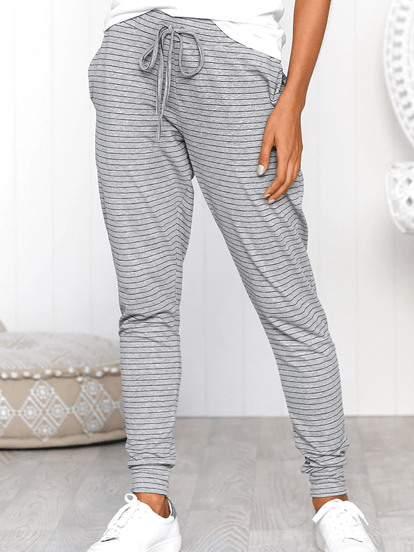 Striped Tie Loose Trousers-Bottoms-vogury.com