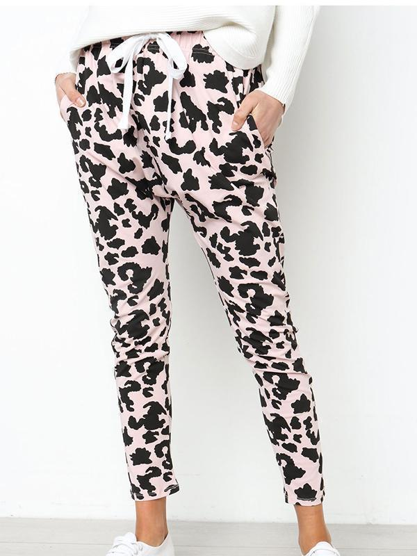 Leopard Print Tie Up Sports Pants