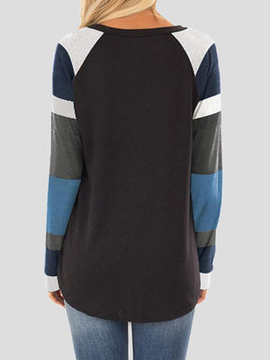 Color Block Stitching Long Sleeve T-Shirts