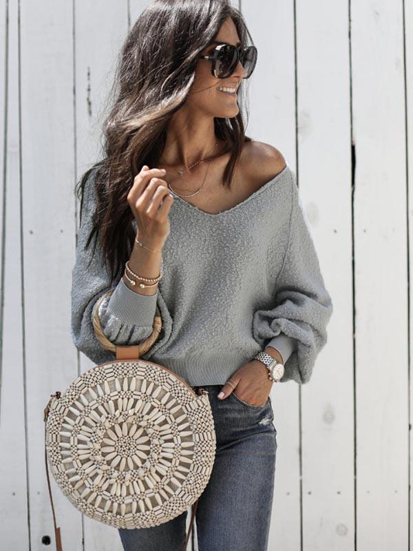 V-neck Solid Long Sleeve Sexy Sweater