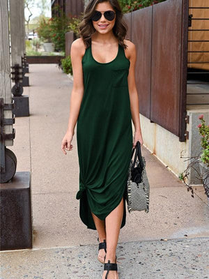 Irregular Split Maxi Dress With Pocketed