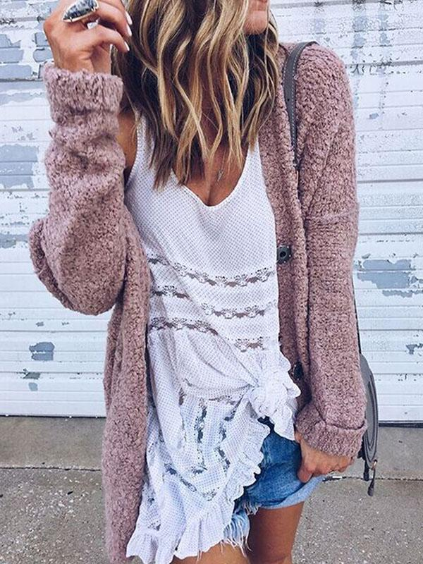 Solid Color Open front Loose Cardigan