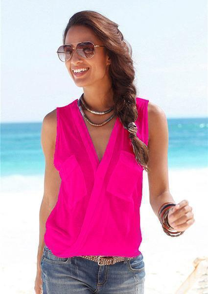 Deep V-Neck Sleeveless Tanks-Tanks-vogury.com-Rose Red-S-vogury.com