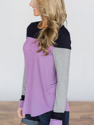 Splicing Colorblock Long Sleeves T-shirt