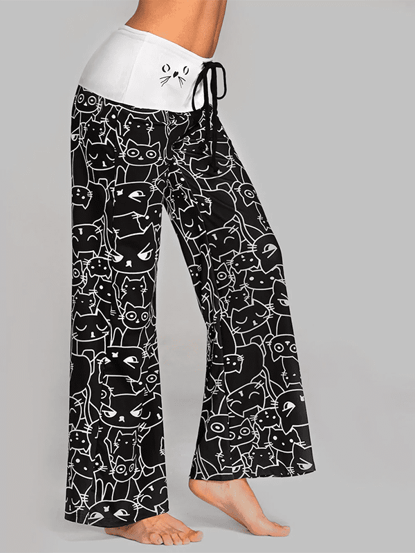 Mid Waist Cat Printed Long Pants-Bottoms-vogury.com