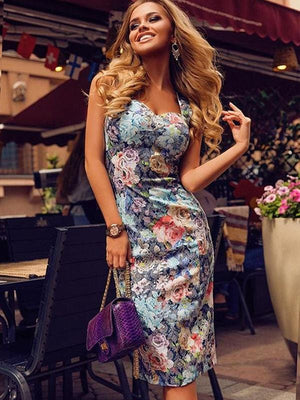 Backless Off Shoulder Floral Bodycon Midi Dress