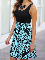 Mandala Printed Colorblock Mini Dress