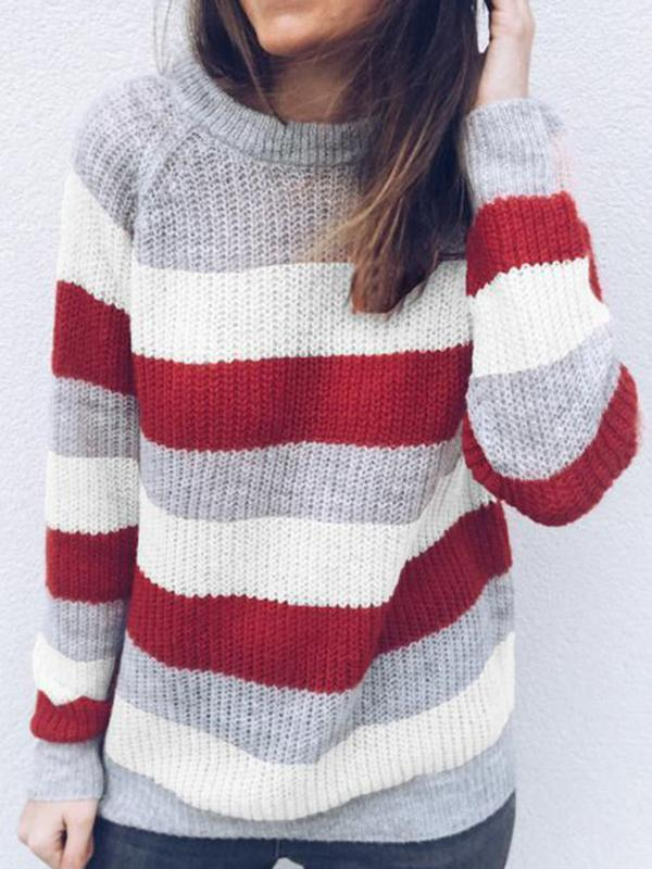 Knitted Color Block O-Neck Sweater