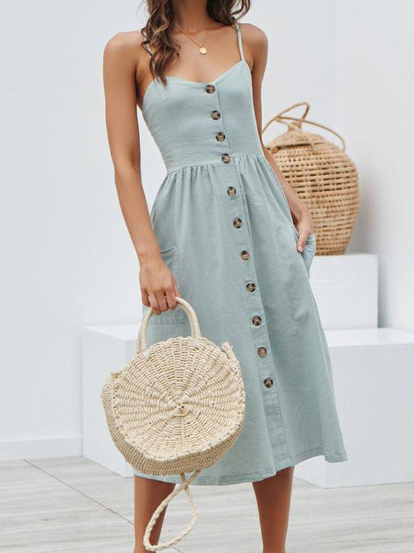 Straps Button Cottage Hill Dress With Pocket
