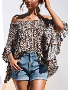 Off Shoulder Leopard Bell Sleeve Blouse