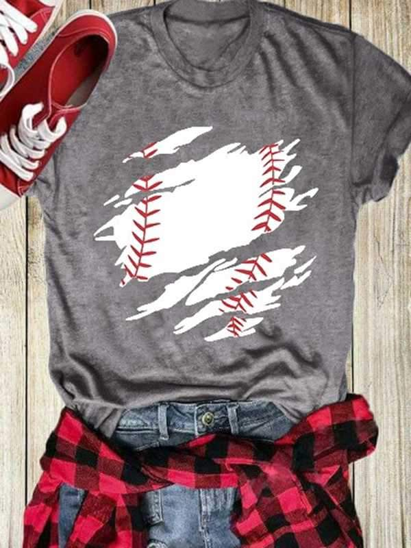 Baseball O-Neck Short Sleeve T-Shirt