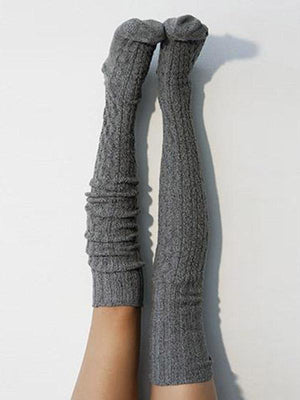 Solid Color Knit Thigh High Socks