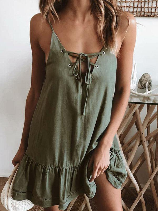 Casual Lace-up Pleated Dress