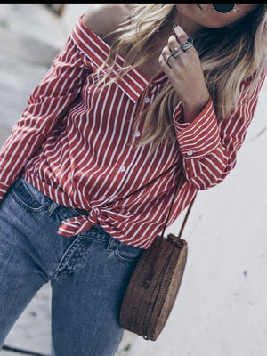 Fashion Stripe Irregular Blouse-Blouse-vogury.com