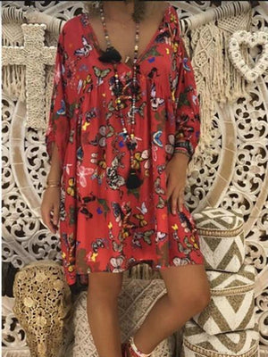 Butterfly Print Cropped Sleeve Dress