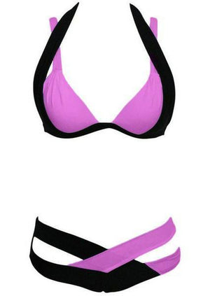 Splicing Color Block Criss-Cross Halter Bikini Set