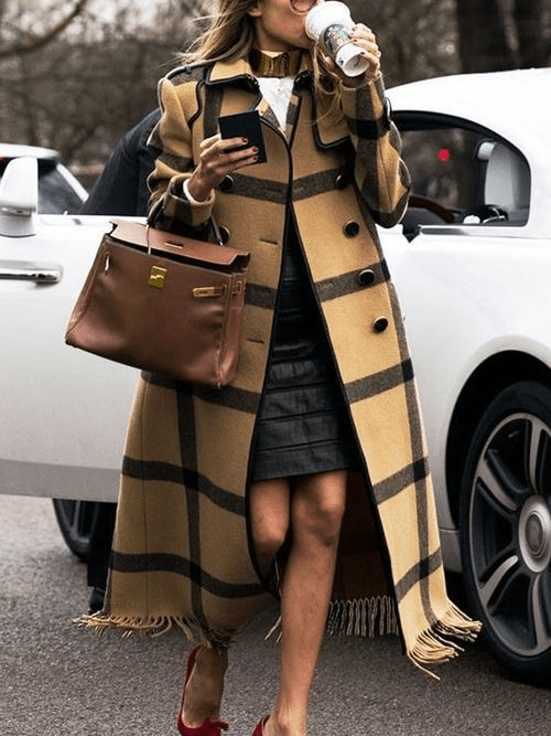 Plaid Turn Down Collar Tassel Coat