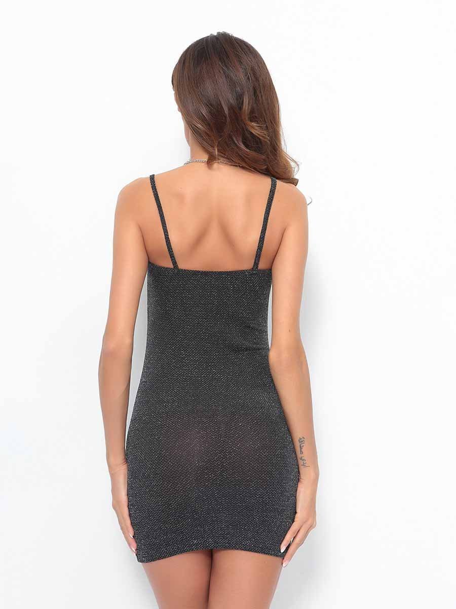 Solid Color Sling Bodycon Dress