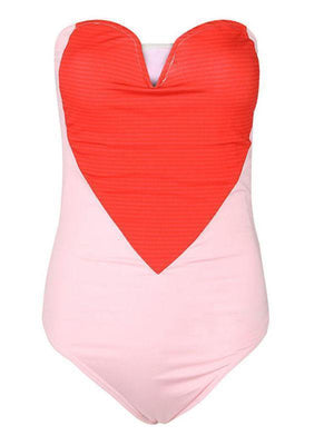 Heart Stitching One Piece Swimsuit