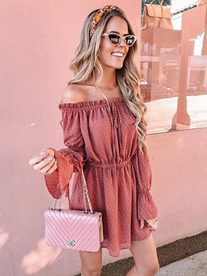 Off The Shoulder Ruched Sheer Sleeves Dress