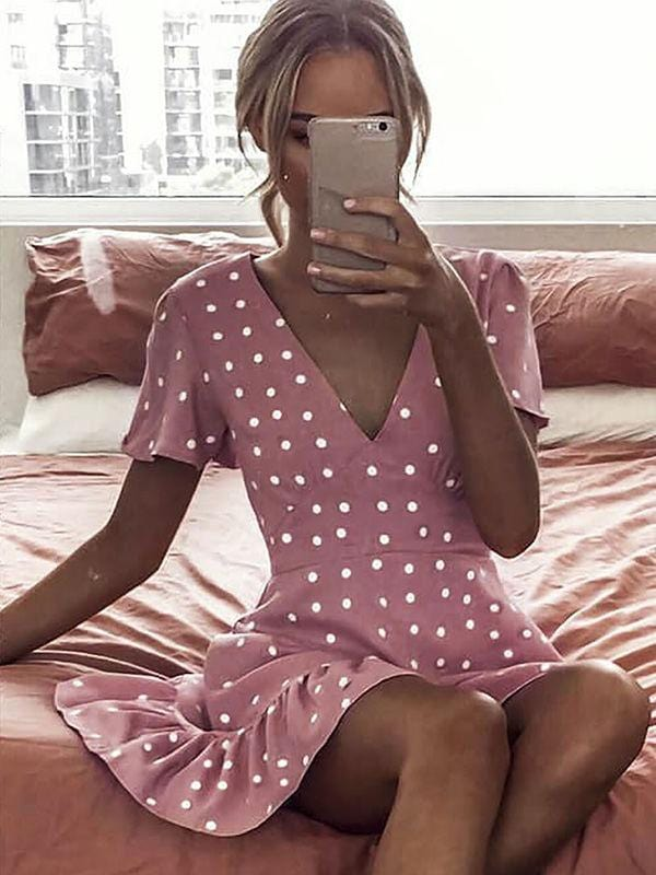 Polka Dot V-neck Ruffle Mini Dress