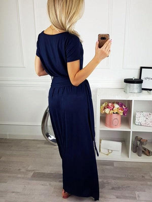 Cold Shoulder Maxi Dress With Belt