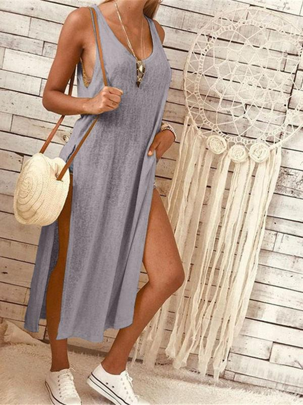 Deep V Solid Long Dress