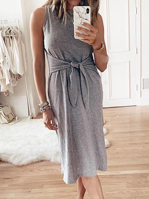 Round Neck Sleeveless Bow Knot Dress