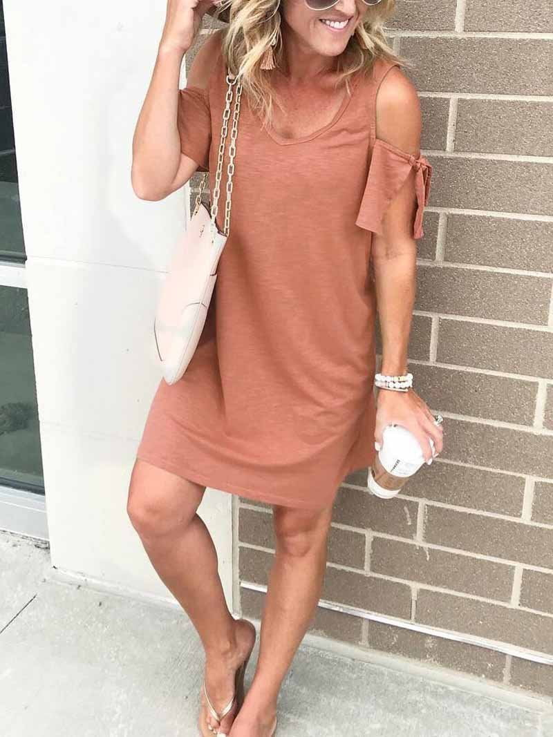 V-neck Solid Off Shoulder Mini Dress