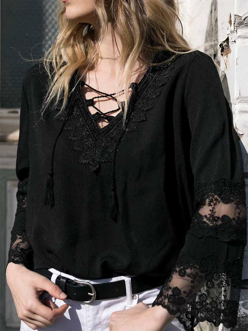 V-neck Bell Sleeve Lace Blouse