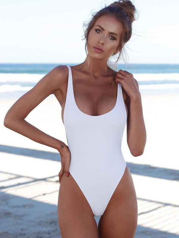 Solid Color One Piece Swimsuit