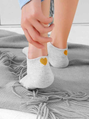 Solid Heart Print Socks