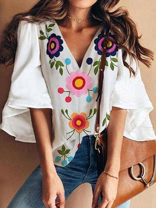 Bell Sleeve Floral Printed Blouses