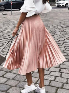 Solid Color Pleated Skirt