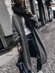 vogury.com Cardigans & Coats Grey / One Size Solid Cashmere Batwing Sleeve Knit Coat