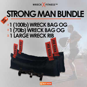 Strongman Bundle: $60 OFF - 100 LB Wreck Bag OG, 70 LB Wreck Bag OG And A Wreck Rib Large