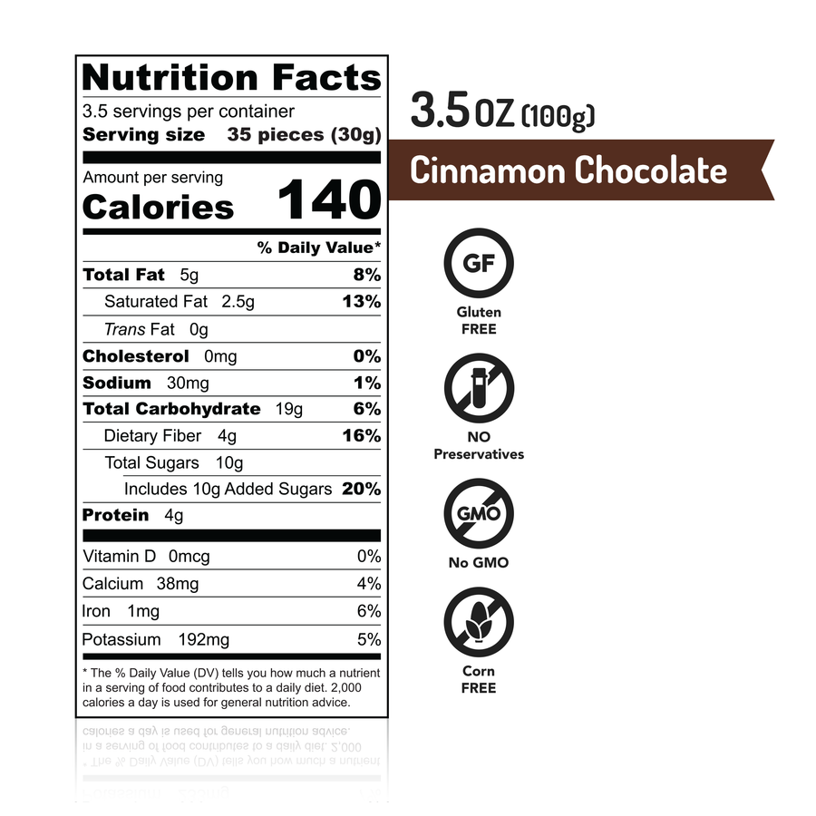 MISKETS Cinnamon Chocolate Dry Roasted Chickpeas Nutrition Facts