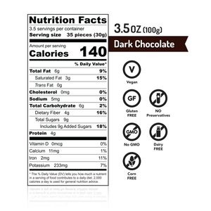 MISKETS Dark Chocolate Dry Roasted Chickpeas Nutrition Facts