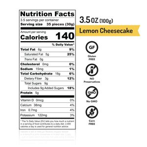 MISKETS Lemon Cheesecake White Chocolate Dry Roasted Chickpeas Nutrition Facts