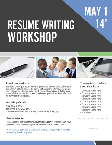 resume writing workshop flyer template adobe indesign file