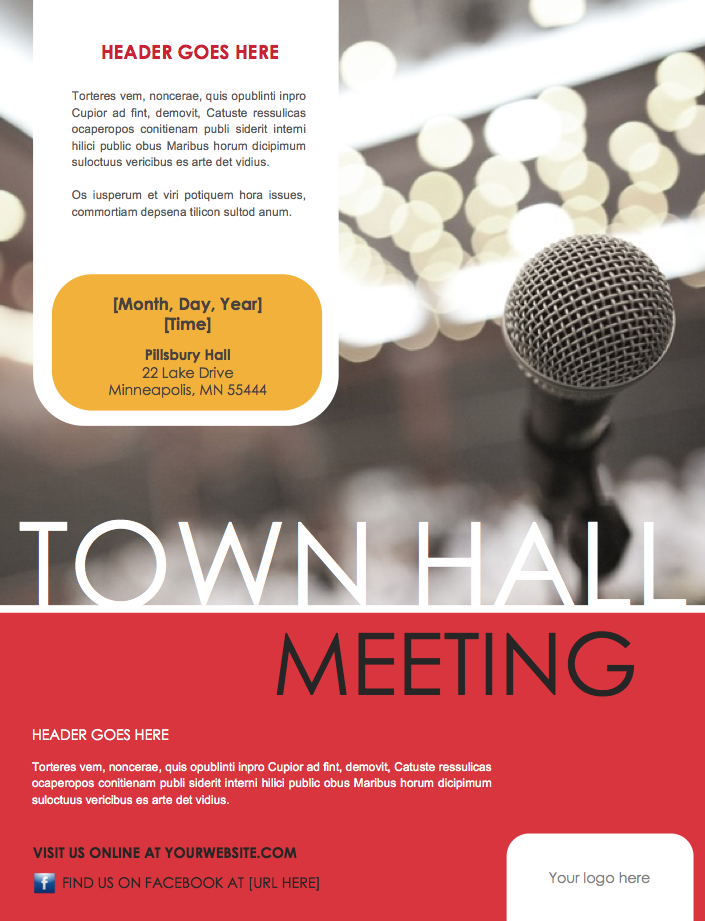 Town Hall Invitation with great invitations sample