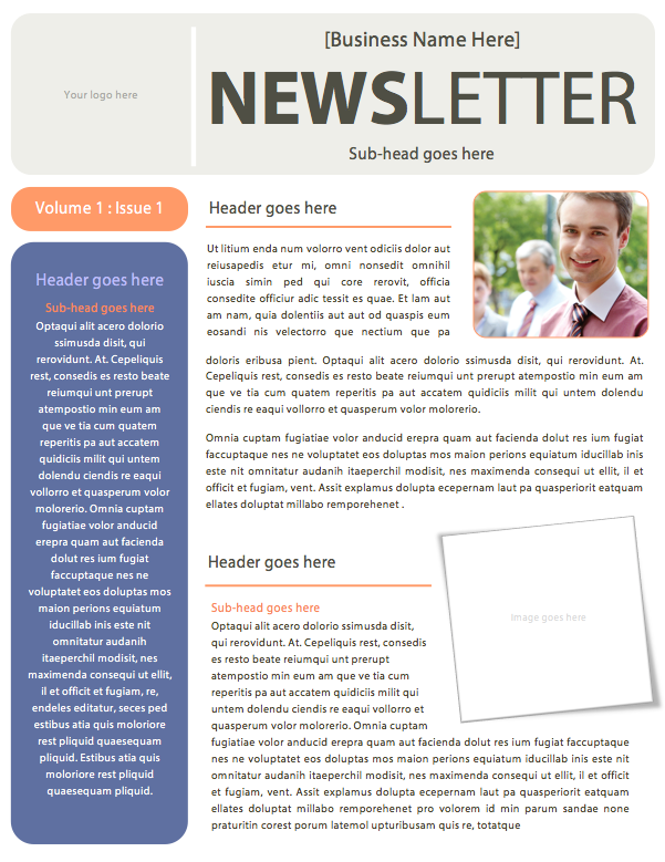 Simple Business Newsletter Template Microsoft Word File